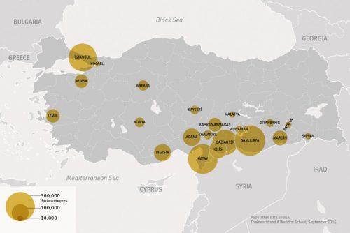 2015년 터키 내 시리아 난민 분포