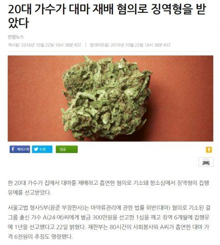 걸그룹 A씨 대마 재배 흡연 혐의 징역