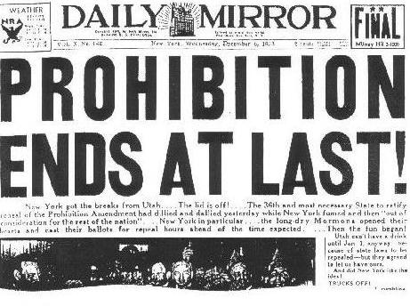 미국 금주법 폐지 신문